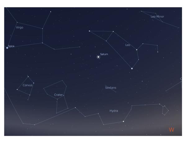 La posizione di Saturno nel cielo di giugno